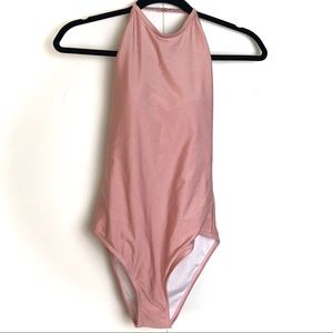 Zaful High Neck Open Back Blush Monokini NWT